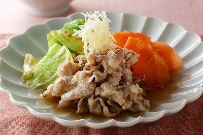 豚肉と春野菜の炊き合せ出来上がり図