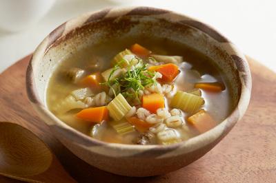 新ごぼうと麦の和風スープ出来上がり図